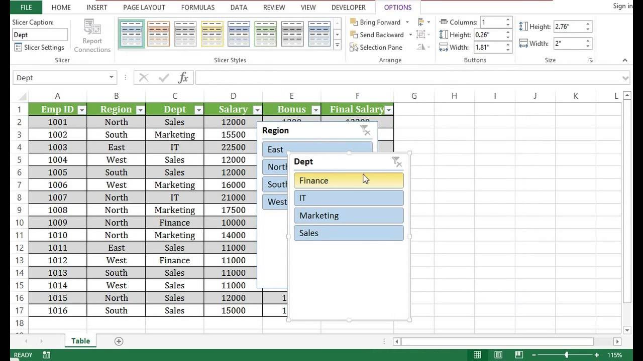 How To Create Table In Excel 2013 Youtube
