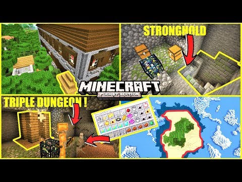 Minecraft PE - TOP 5 SEEDS - Mansion IN Village, TRIPLE Dungeon IN Mineshaft & MORE | MCPE 1.12