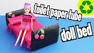 How to make a Doll Bed with Toilet Paper  Rolls - Super Easy Doll Crafts