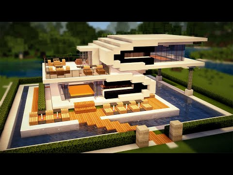 Easy Minecraft: Beach Pool House Tutorial - How to Build a House in Minecraft #47