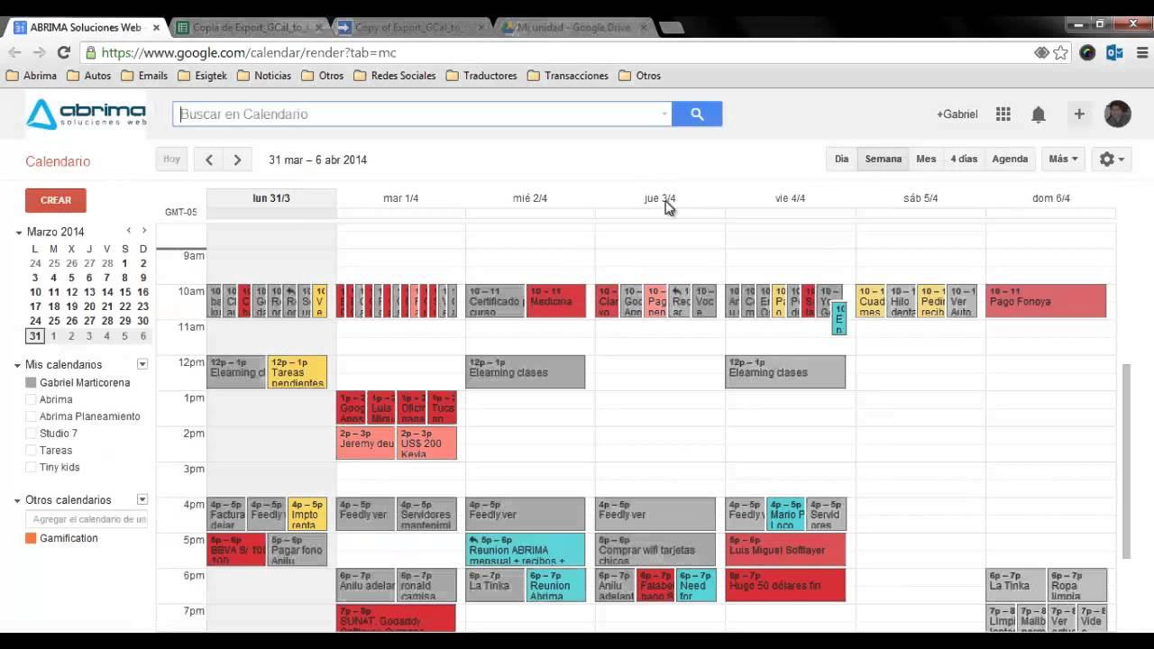 Exportar Calendario (Google Calendar) a Hoja de Calculo de Google ...