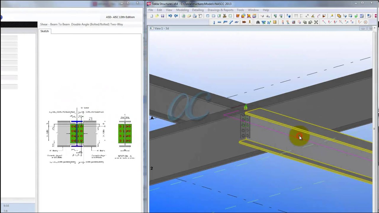 ADconX Stand Alone and Tekla - W Beam to W Girder Clip Angle ...