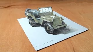 Awesome Legendary Jeep - Drawing Willys MB Jeep Illusion - VamosART