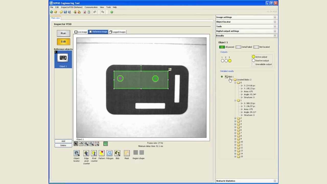 Inspector PI50 vision sensor (Module 4): Measuring distance (Blob ...