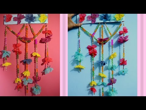 DIY Wall Decoration Ideas from Waste Material Shopping Bag / Wall Hanging made by Waste Material