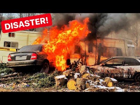 Honda FIRE BURNS DOWN Trailer Home!