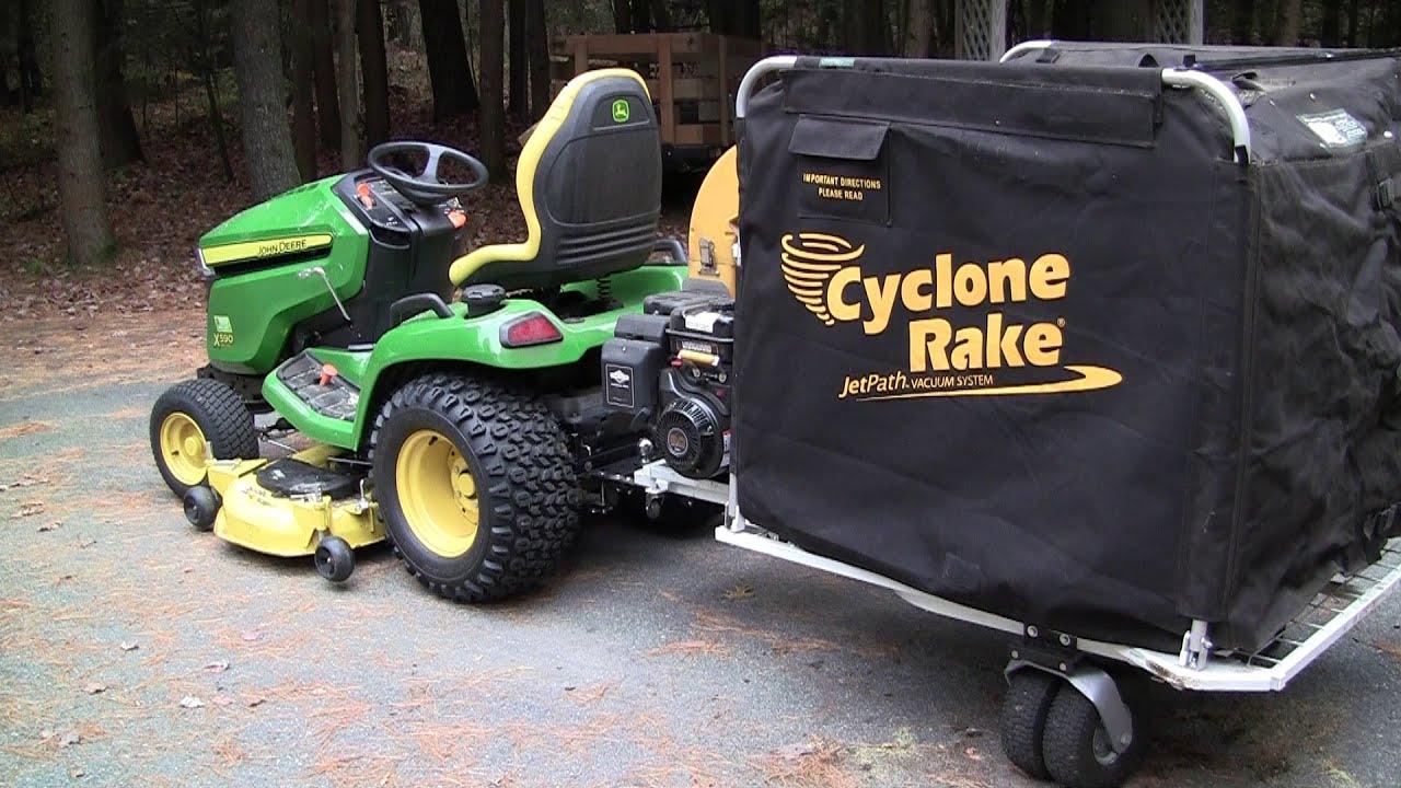 Cyclone rake install on John Deere x590 - YouTube