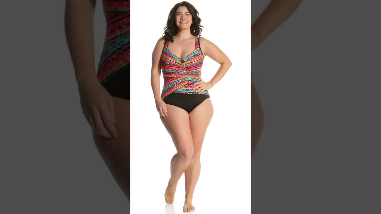 bf3c9fb1942 Miraclesuit Plus Size Night Lights Layered Escape One Piece Swimsuit |  SwimOutlet.com