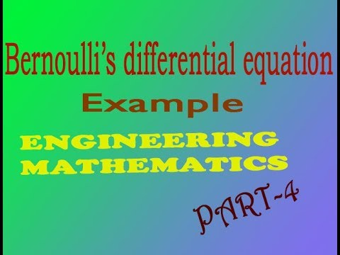 bernoulli 39 s equation. engineering maths 1 bernoulli\u0027s differential equation example(part- 4) bernoulli 39 s u