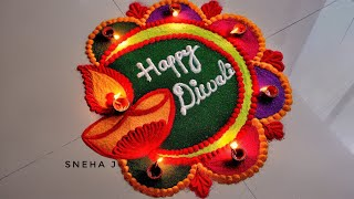 Attractive Deepawali rangoli | Very Easy rangoli for Diwali |Rangoli design by Sneha J |