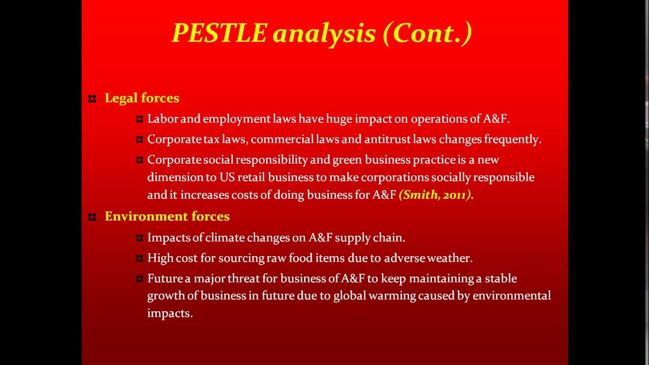 abercrombie and fitch pest analysis A complete and comprehensive analysis of abercrombie & fitch company, includes an overview of the industry the company operates in, a pest framework analysis of the industry, and then moves on to analyzing the company itself.
