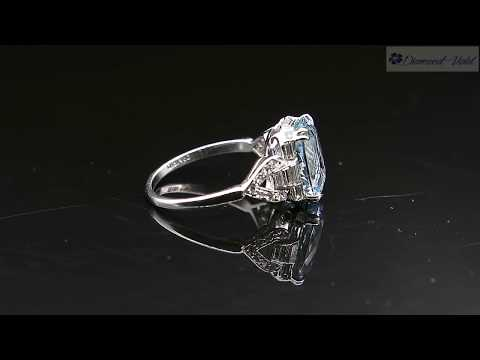 GIA 4 74CT ANTIQUE VINTAGE AQUAMARINE DIAMOND ENGAGEMENT WEDDING RING PLAT