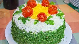 печеночный торт закусочный с луком и морковью