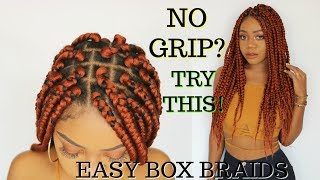 Easy Grip Box Braids Tutorial | Step by Step | Rubberband Method | Natural Hair Protective Style