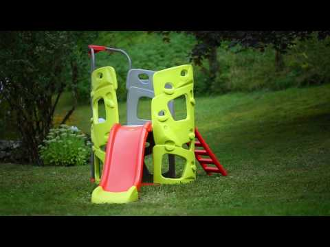 Smoby Childrens Climbing Tower Fun Centre with Slide and kids climb wall frame