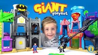 GIANT Batman Imaginext Gotham City & Superman Metropolis Unboxing & ToysReview by KID CITY