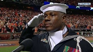 WS2014 Gm3: U.S. Navy Petty Officer sings at stretch