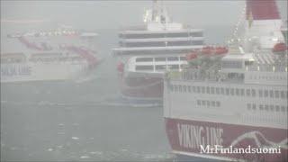 Silja Viking Line in strong wind 11.12.2019 Mariehamn Åland