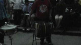 Kalyan Pathak teaching his own new Dhol beats to a gathering of drummers in Ahmedabad