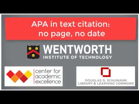 Apa In Text Citation No Page No Date Video
