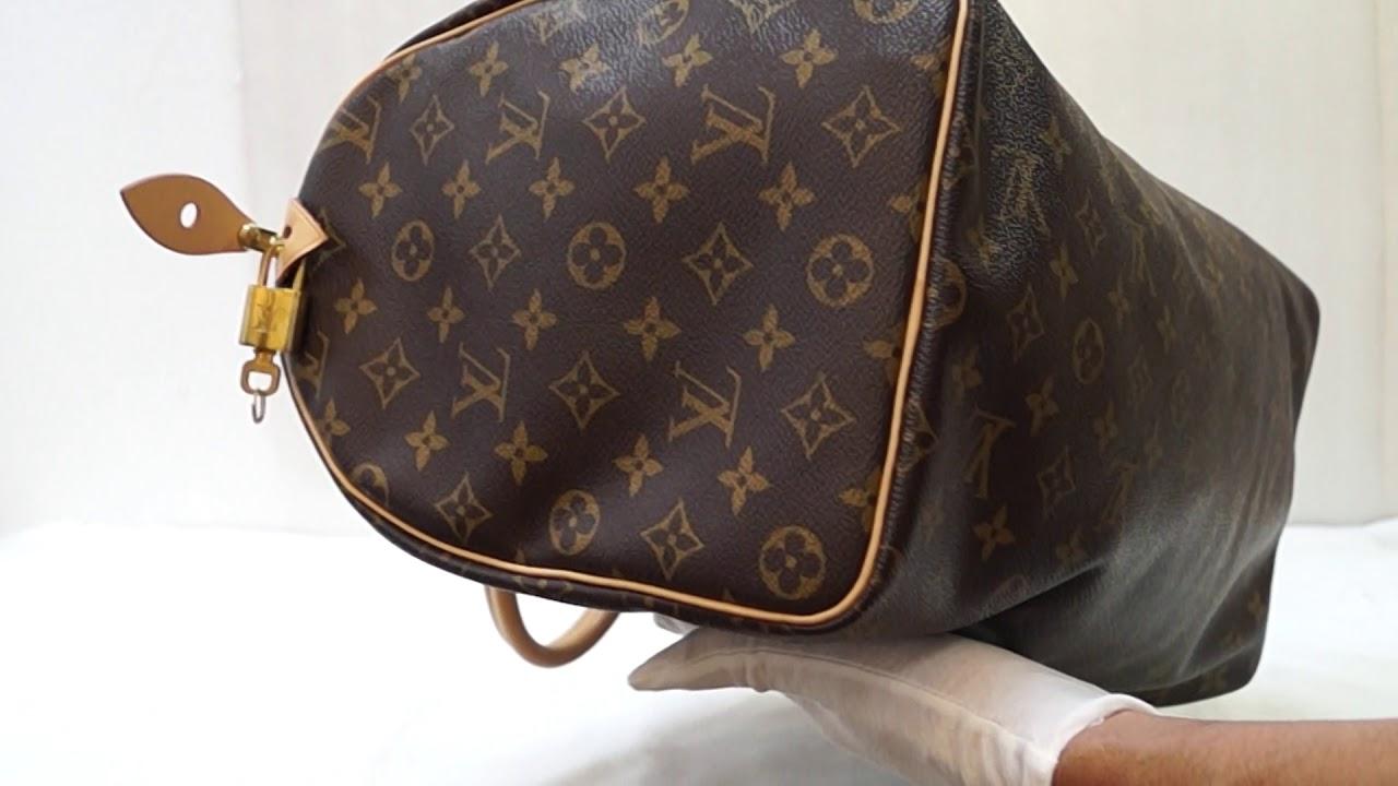 bd8c0e27a4a9 LOUIS VUITTON Speedy 40 Monogram Canvas Brown Satchel Bag E4912 ...