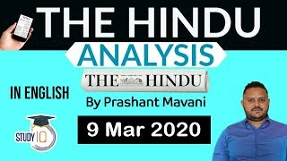 English 9 March 2020 - The Hindu Editorial News Paper Analysis [UPSC/SSC/IBPS] Current Affairs