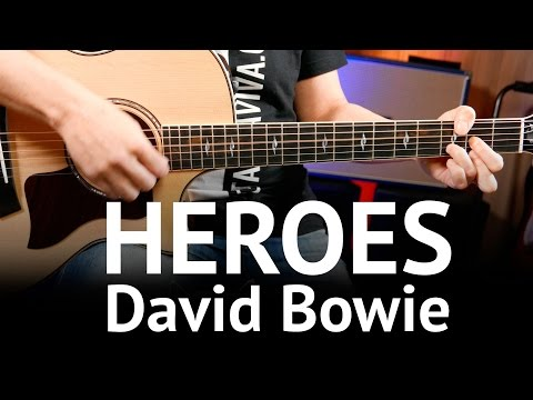 Mix - Heroes - David Bowie Guitar chords cover on guitar ( How to play )