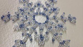Grosse Schneeflocke aus Perlen. Weihnachtsideen. Deko.