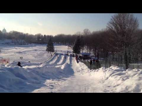 Snow tubing on Mont Royal