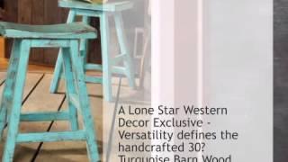Turquoise Barn Wood Bar Stool - 30 Inch - Lonestarwesterndecor.com
