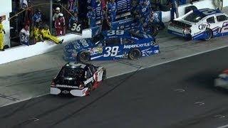 Ryan Newman spins on pit road at Daytona