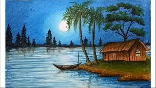 How to paint a scenery of moonlit night with oil pastels step by step