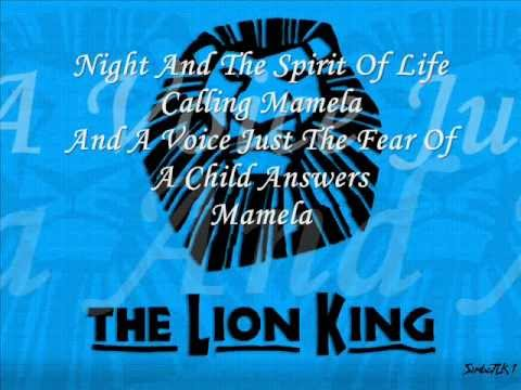 He Lives In You Reprise The Lion King Broadway With Lyrics