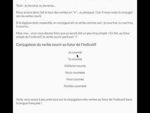 Conjugaison Futur Verbe Courir En Francais Youtube