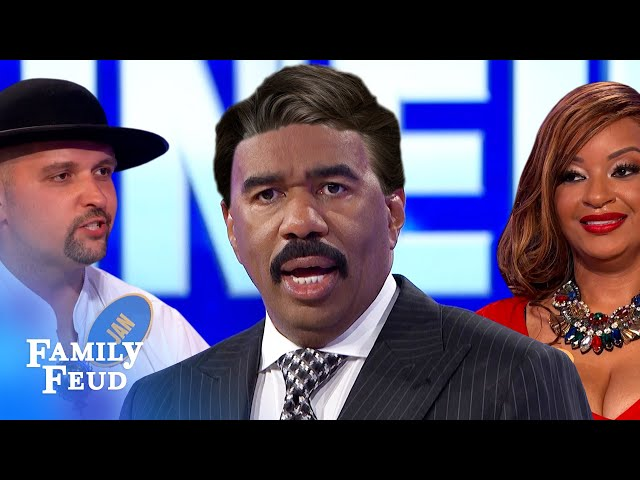 This is why you shouldn't use human hair for your toupee... | Family Feud