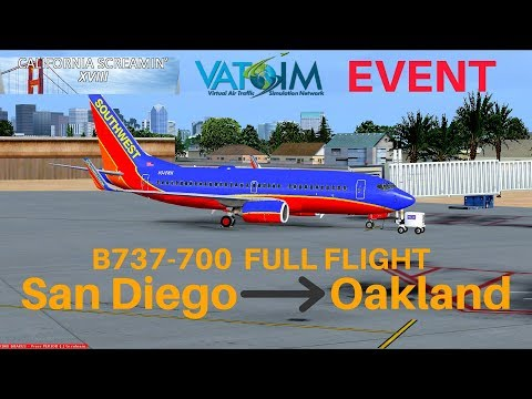 [FSX] Southwest 6092   San Diego - Oakland   B737-700   Full Flight   VATSIM Event (Full ATC)
