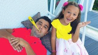 Öykü played helps her father - Fun kid video