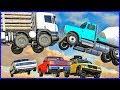Скоростные прыжки с трамплина на машинах: грузовик, скорая, легковая. Мультик-игра про аварии.