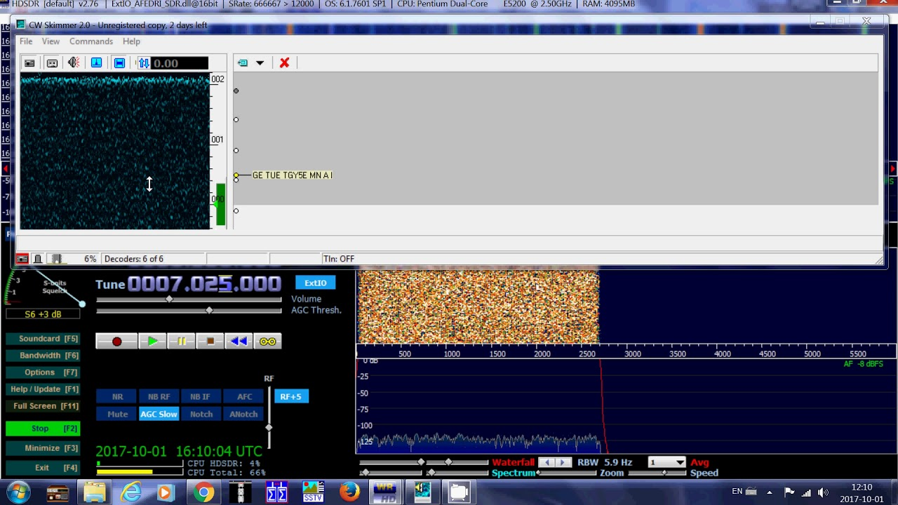 Testing CW Skimmer software for decoding ham radio morse code signals