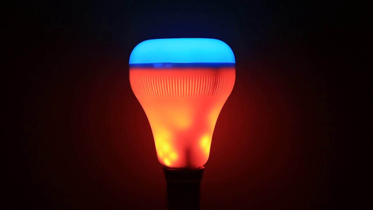 E27 18W Color Changing Smart Bluetooth Speaker LED Flame Bulb Night ...
