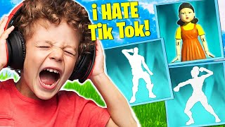 Trolling ANGRY Kid Wİth TikTok Emotes in Squid Game! (Fortnite)