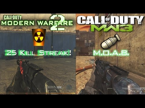 "MW2 AK-47 ""Tactical Nuke"" Vs. MW3 AK-47 ""M.O.A.B"" Call Of Duty Weapon Comparisons! Nuke Gameplay!"