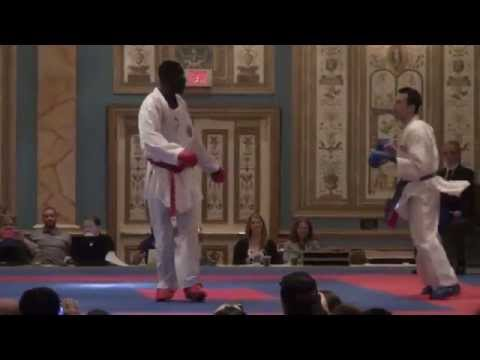 US Open Karate 2015 USA Thomas Scott vs Senegal E.Gaye Nadour open weight male kumite