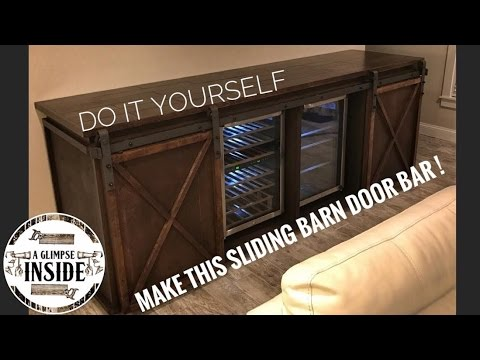 DIY Sliding Barn Door Bar | Media Console Table