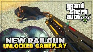 "GTA 5 PS4 ""Railgun"" Unlocked in GTA 5 Next Gen Free Roam NEW Weapons Gameplay! (GTA V)"