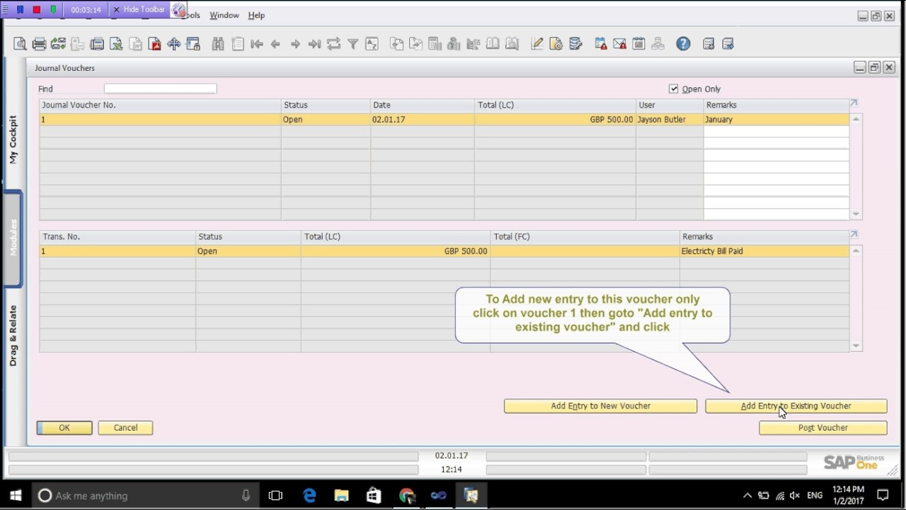 How To Create New Journal Voucher In Sap Business One  Create Voucher