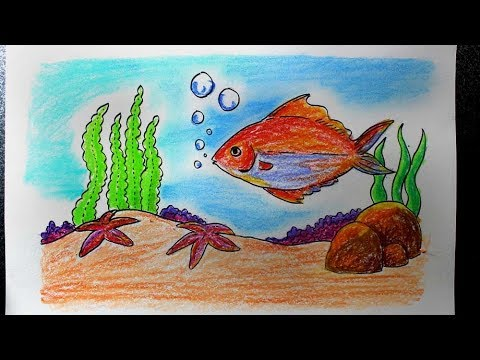 Cara Menggambar Pemandangan Alam Bawah Laut Yang Mudah Youtube