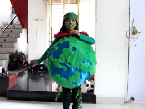 Naomi as earth for sjc bhopal fancy dress competition for Best out of waste environment
