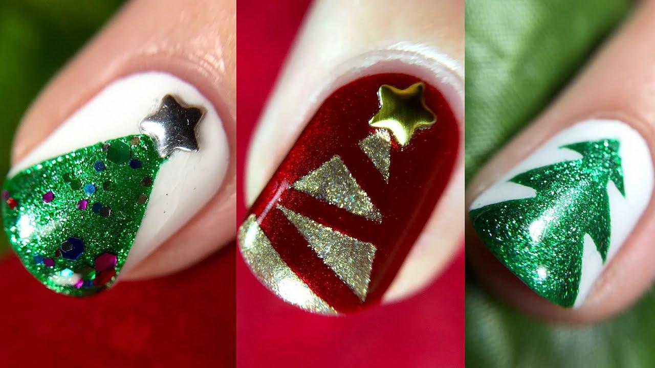 3 christmas tree accent nail art