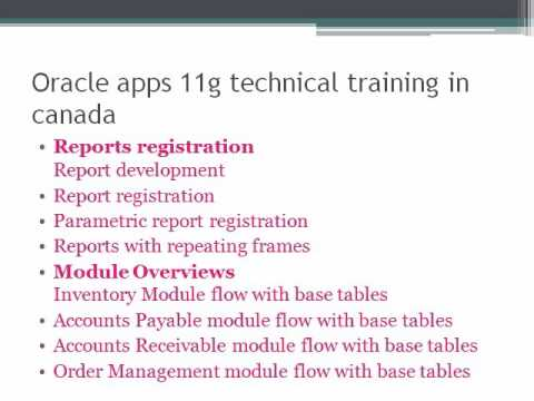 oracle apps technical training in canada